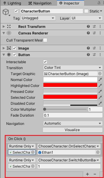 キャラクター選択ボタンを押した時に実行する処理を設定