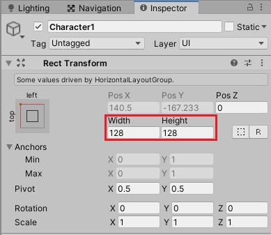 キャラクター選択ボタンのサイズ設定