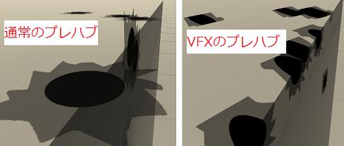 通常のプレハブとVFXのプレハブの弾痕の違い