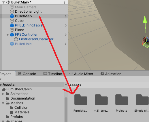 弾痕のVFXのゲームオブジェクトをプレハブにする