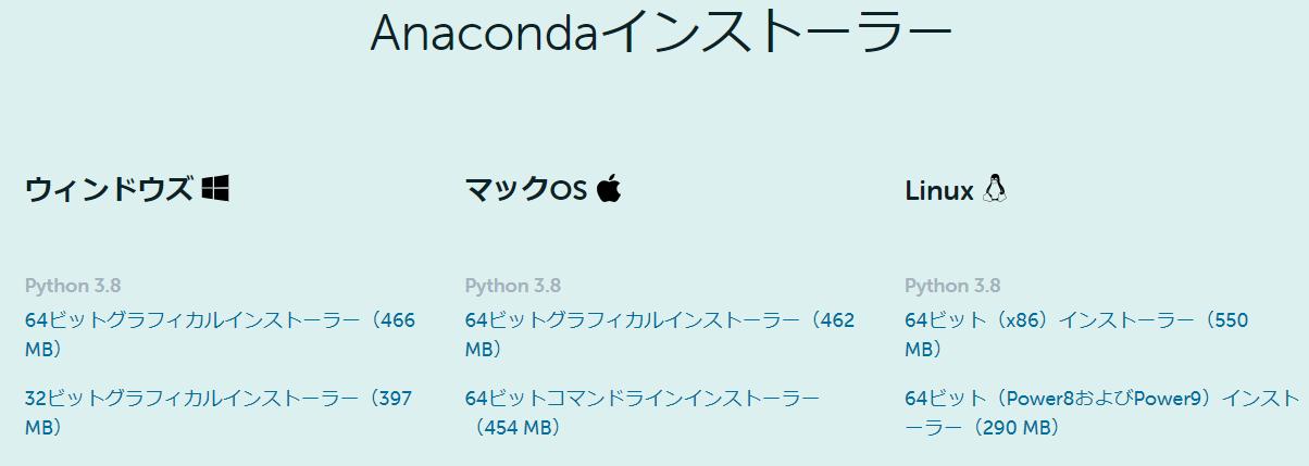 Anacondaのダウンロード
