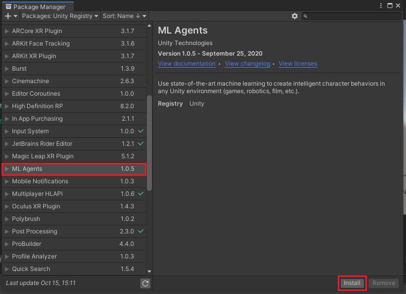 ML-Agentコンポーネントをインストールする
