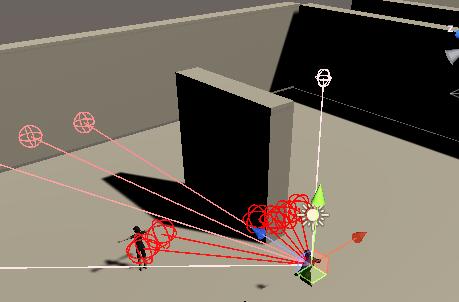 RayPerceptionSensor3Dのレイを飛ばした状況をギズモで確認