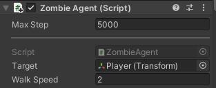 ZombieAgentのインスペクタの設定