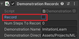 Demonstration RecorderコンポーネントのRecordのチェックを外す