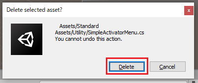Unityエディターで選択したファイルを削除する