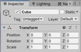 SimpleActionGameのUnityエディター操作練習用のCubeのインスペクタ