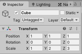 階層にしたCube全てのTransformを同じにする