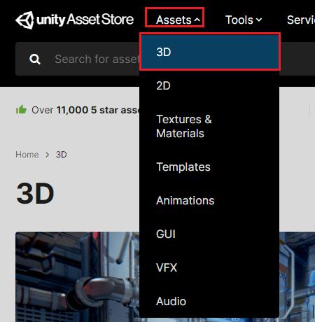 Unityアセットストアで種類で絞り込む