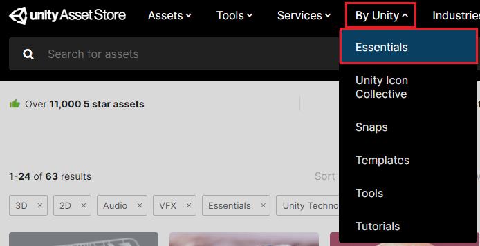 アセットストアでByUnityのEssentialsを選択する