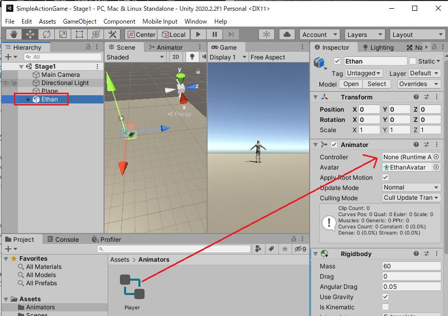 PlayerアニメーターコントローラーをEthanのAnimatorのControllerに設定する
