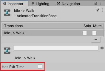 アニメーターコントローラーの遷移のHas Exit Timeのチェックを外す
