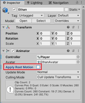 AnimatorのApply Root Motionのチェックを外す