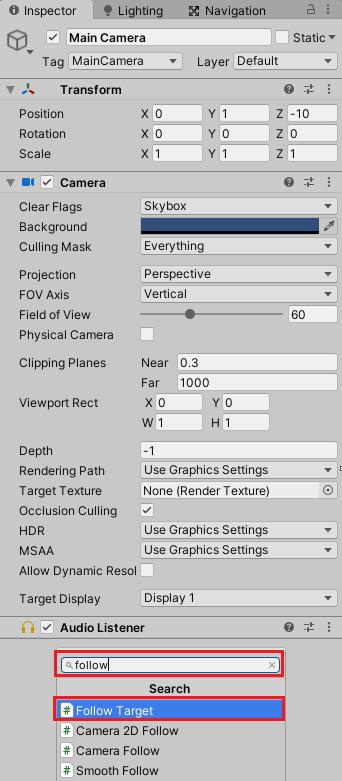 Main CameraにFollow Targetスクリプトを取り付ける