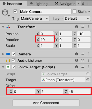 Main CameraのTransformとFollow Targetの設定をする