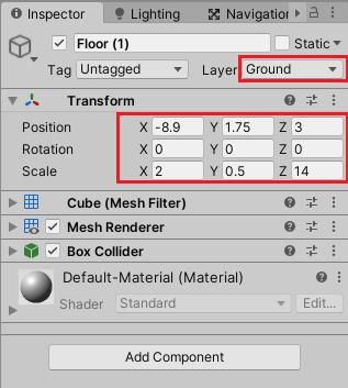 Floor(1)のTransformの設定