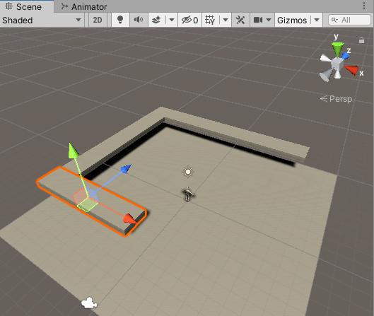 ゲームの舞台に3つのFloorを追加した時のシーンビュー