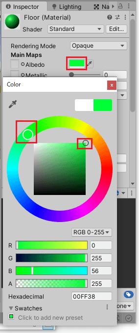 マテリアルの色を変更する