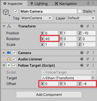 MainCameraの設定を変えてキャラクターが写るようにする