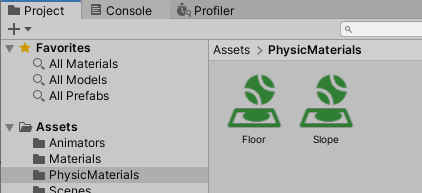 FloorとSlopeのPhysicMaterialを作成した