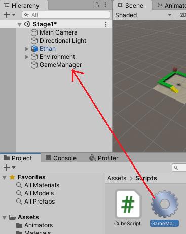 GameManagerスクリプトをGameManagerゲームオブジェクトに取り付ける