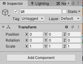 UIゲームオブジェクトのTransformをリセットする
