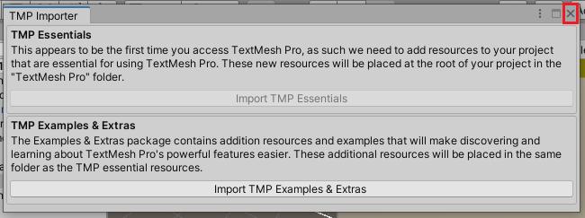 TMP Importerウインドウを閉じる