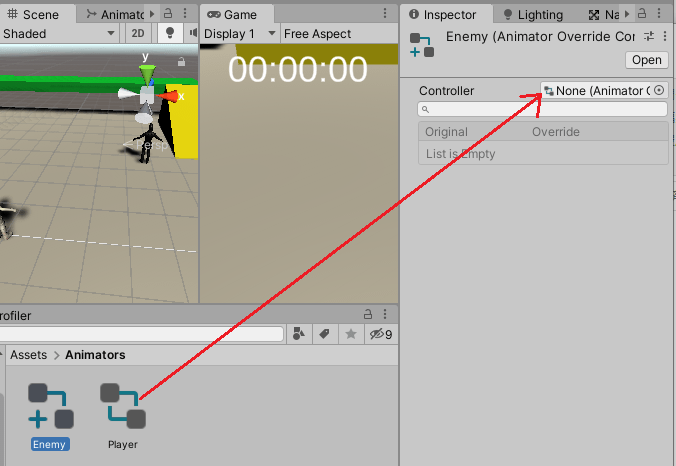 EnemyアニメーターオーバーライドコントローラーのControllerにPlayerアニメーターコントローラーを設定する