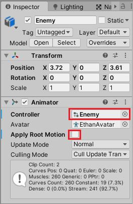EnemyゲームオブジェクトのAnimatorのControllerにEnemyアニメーターオーバーライドコントローラーを設定する