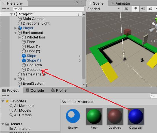 ObstacleマテリアルをObstacleゲームオブジェクトに設定する