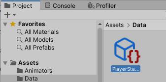 PlayerStatusアセットファイルが作成された