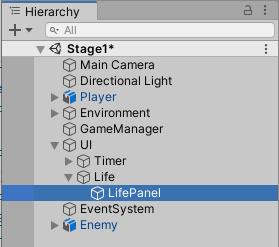 LifePanelパネルを作成した