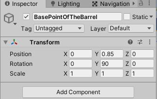BasePointOfTheBarrelのTransformの設定