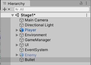 Bulletゲームオブジェクトの作成