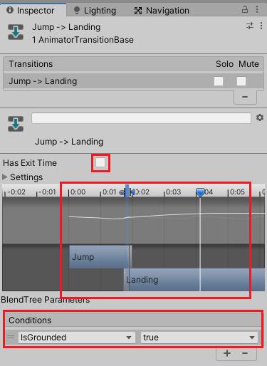 JumpからLandingの遷移条件の設定