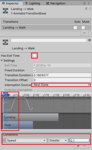 LandingからWalk状態への遷移条件の設定
