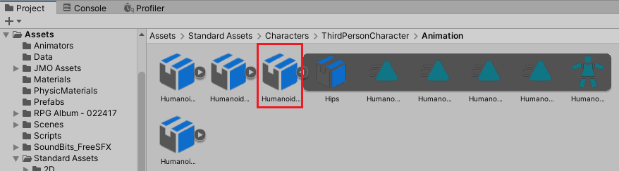 HumanoidJumpUp.fbxファイルを選択する