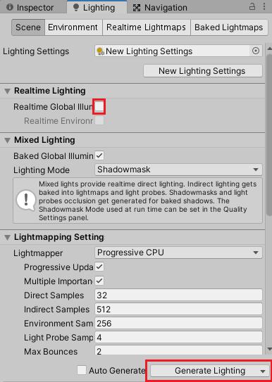 LightingウインドウでRealtimeGlobalIlluminationのチェックを外しライトのベイクボタンを押す