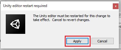 Active Input Handlingの設定を有効にする為にダイアログでApplyボタンを押す
