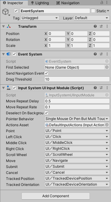 UIのEventSystemがInputSystemに対応された