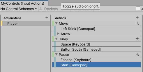 Playerアクションマップのアクションの設定
