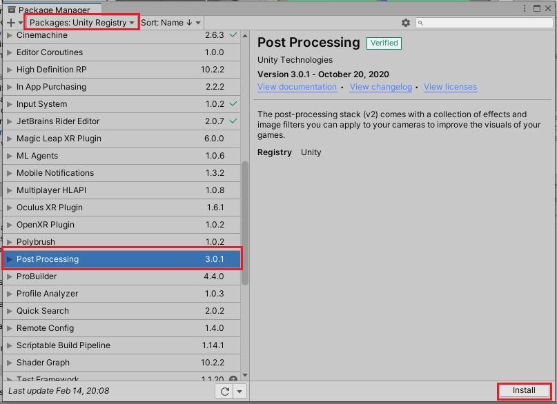 PostProcessingStackをインストールする