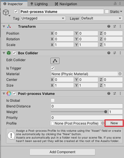 Post-process volume Profileを作成する
