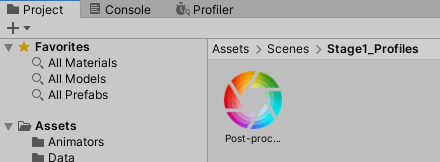 Post-process Volume Profile.assetファイルが作成された
