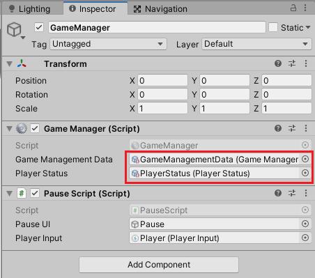 Stage1シーンのGameManagerスクリプトにもGameManagementDataとPlayerStatusアセットを設定する