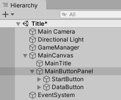 MainCanvas、MainButtonPanelとボタンの階層