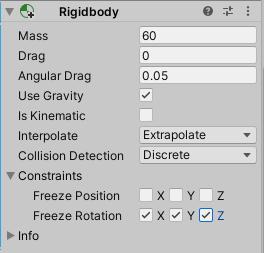 シンプルアクションゲームのEthanのRigidbodyコンポーネントの設定