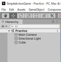 SimpleActionGameでスクリプトの作成とテストの為にCubeを作成する