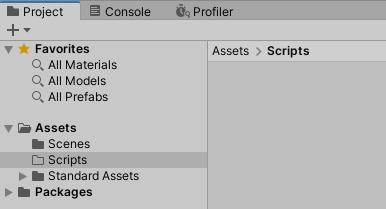 SimpleActionGameのプロジェクトでScriptsフォルダを作成する