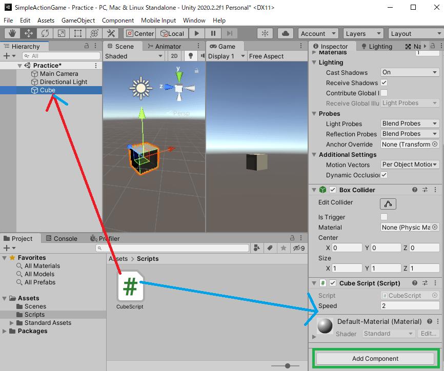 CubeScriptスクリプトをゲームオブジェクトに取り付ける